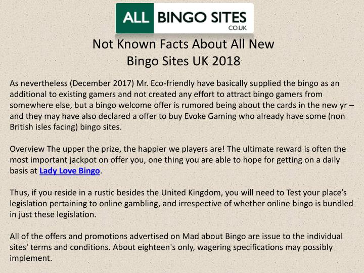 not known facts about all new bingo sites uk 2018 n.