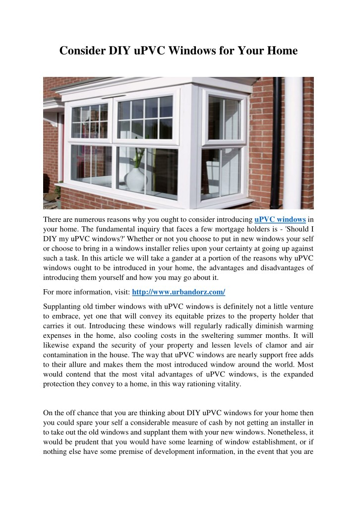 consider diy upvc windows for your home n.
