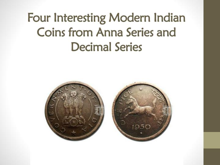 four interesting modern indian coins from anna series and decimal series n.