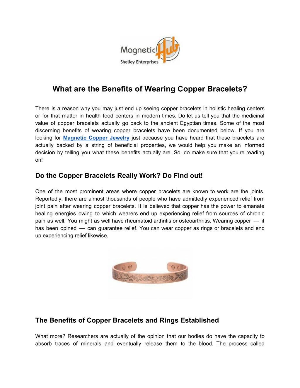 What Are The Benefits Of Wearing Copper Bracelets N
