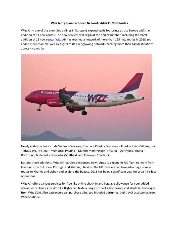 Ppt Wizz Air Eyes On European Network Adds 11 New Routes Powerpoint Presentation Id 7978283