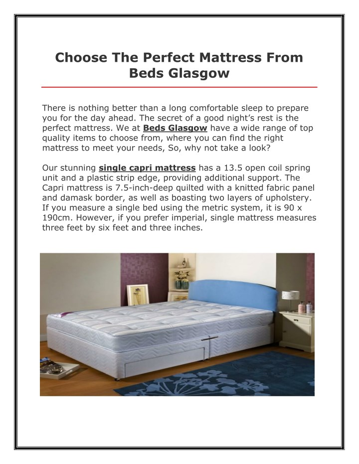 choose the perfect mattress from beds glasgow n.