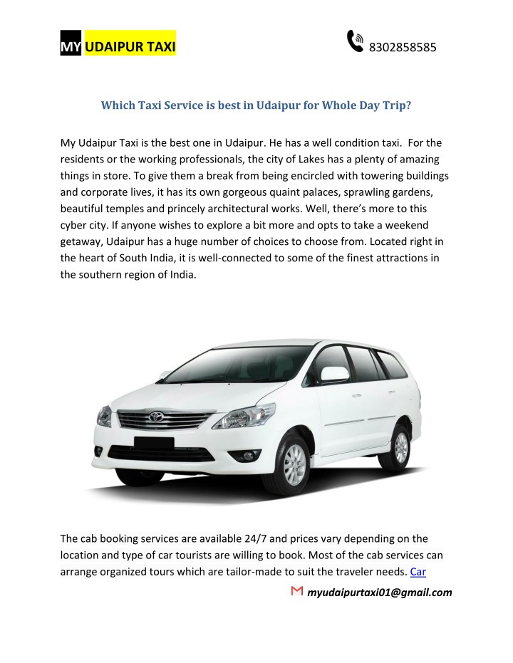 PPT - Which Taxi Service is best in Udaipur for Whole Day