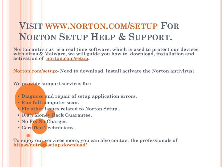 PPT - Norton security installation Help & support Norton com