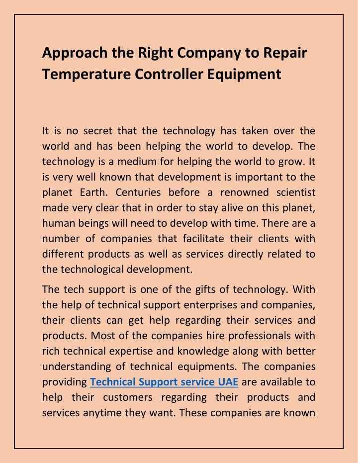 approach the right company to repair temperature n.