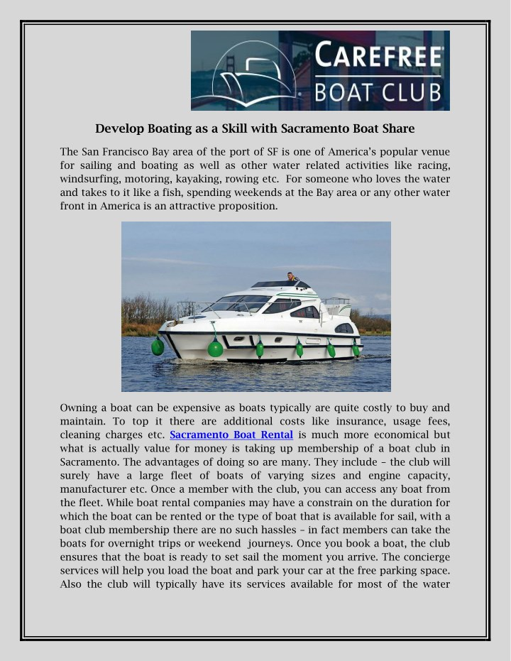 develop boating as a skill with sacramento boat n.