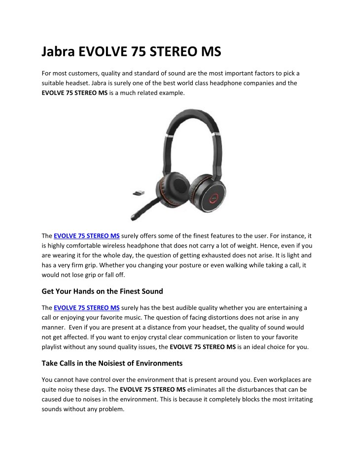 Ppt Jabra Evolve 75 Stereo Ms Goheadsets Powerpoint Presentation Free Download Id 7979935