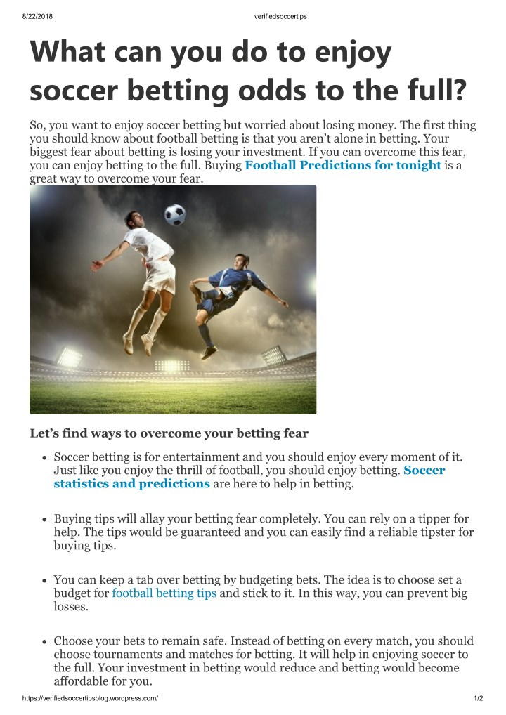 PPT - What can you do to enjoy soccer betting odds to the full