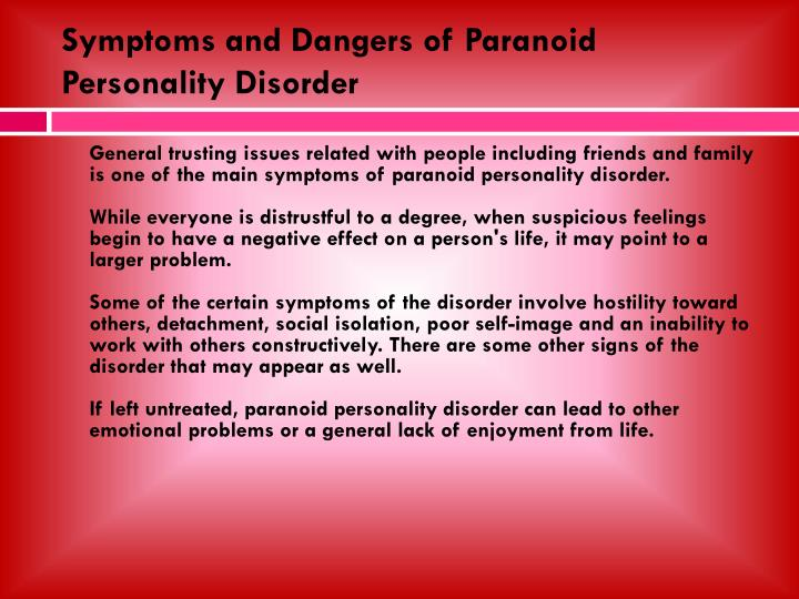 paranoid personality disorder symptoms