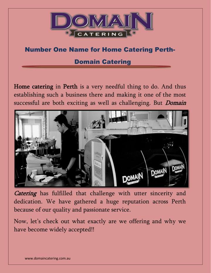 number one name for home catering perth n.
