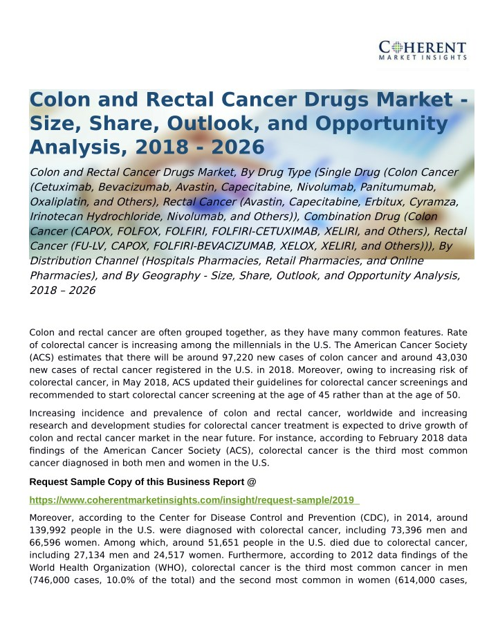 Ppt Colon And Rectal Cancer Drugs Market Opportunity Analysis 2018 A 2026 Powerpoint Presentation Id 7981878