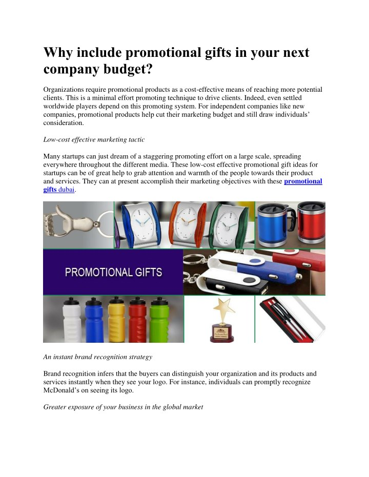 PPT - Why include promotional gifts in your next company budget