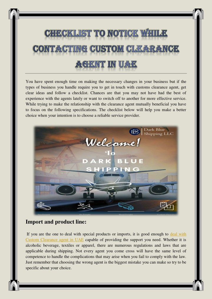PPT - CHECKLIST TO NOTICE WHILE CONTACTING CUSTOM CLEARANCE