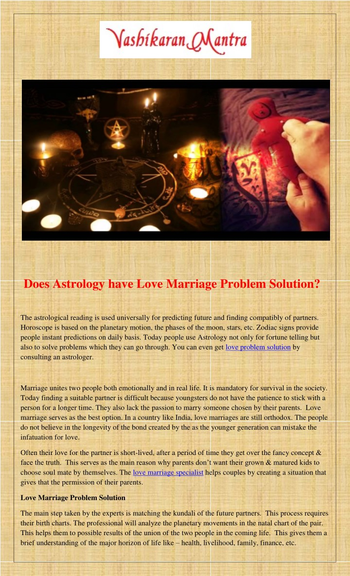 PPT - Does Astrology have Love Marriage Problem Solution