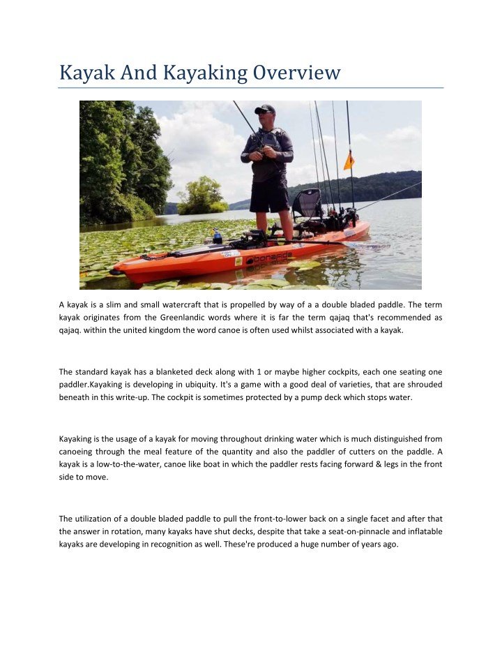 kayak and kayaking overview n.