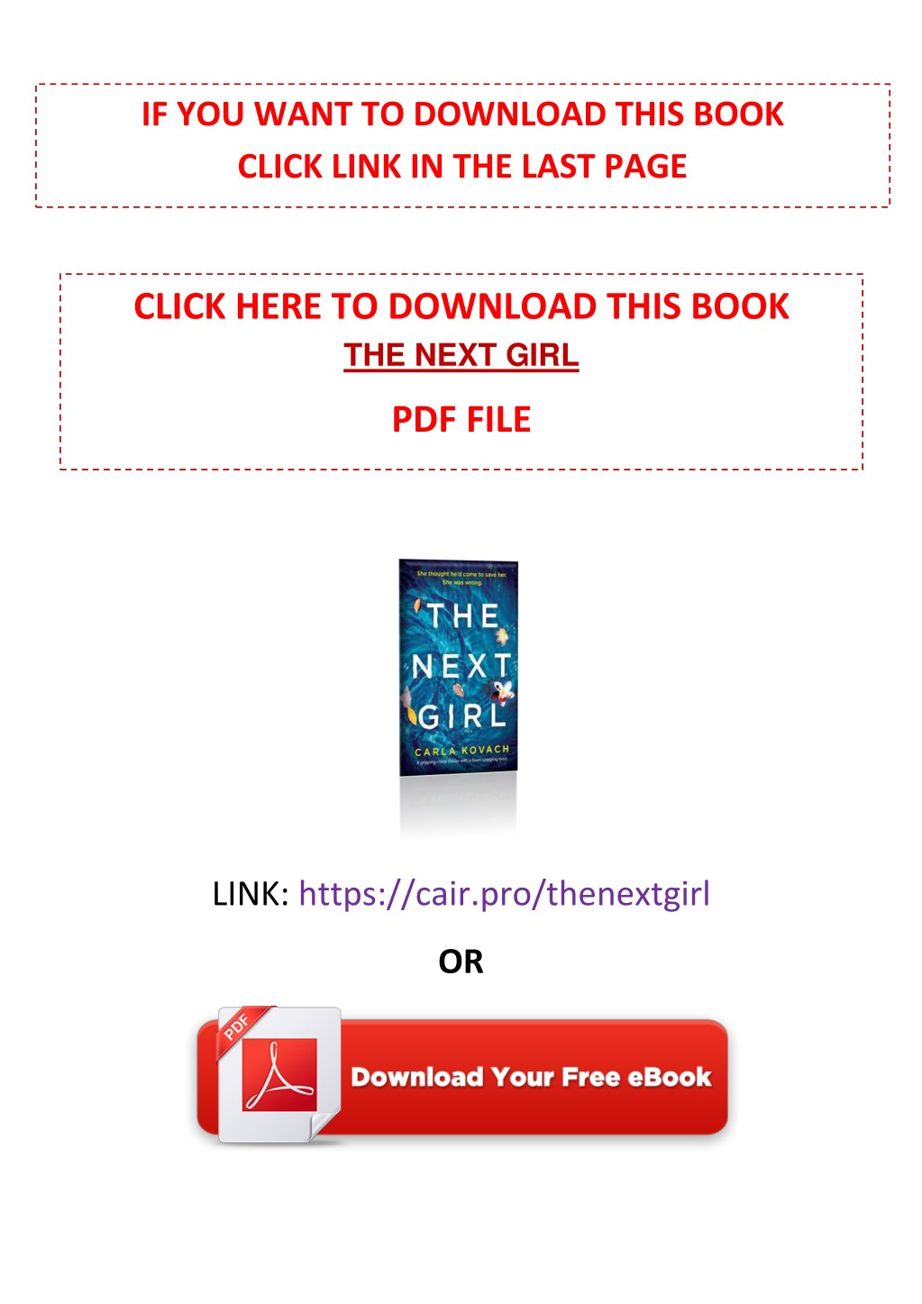 PPT - [PDF] Free Download The Next Girl By Carla Kovach