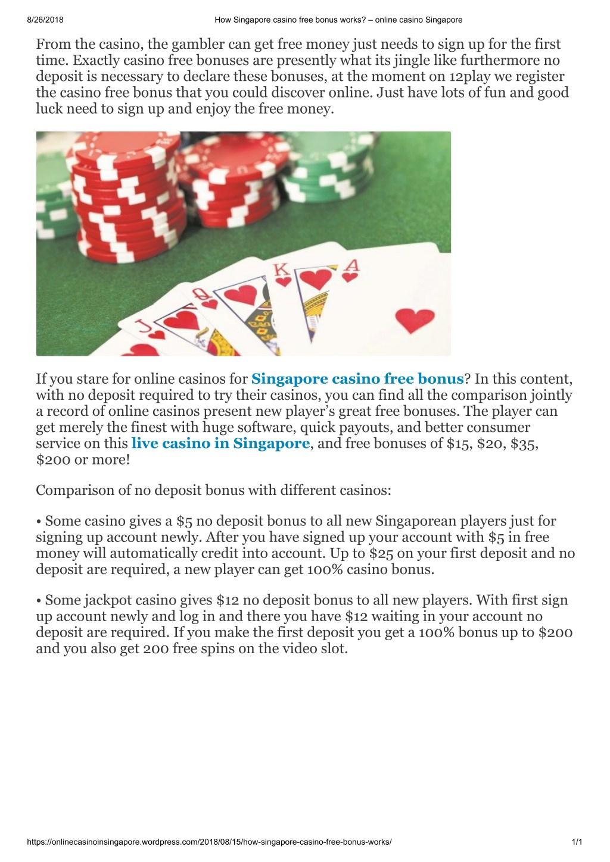 Ppt How Singapore Casino Free Bonus Works Powerpoint