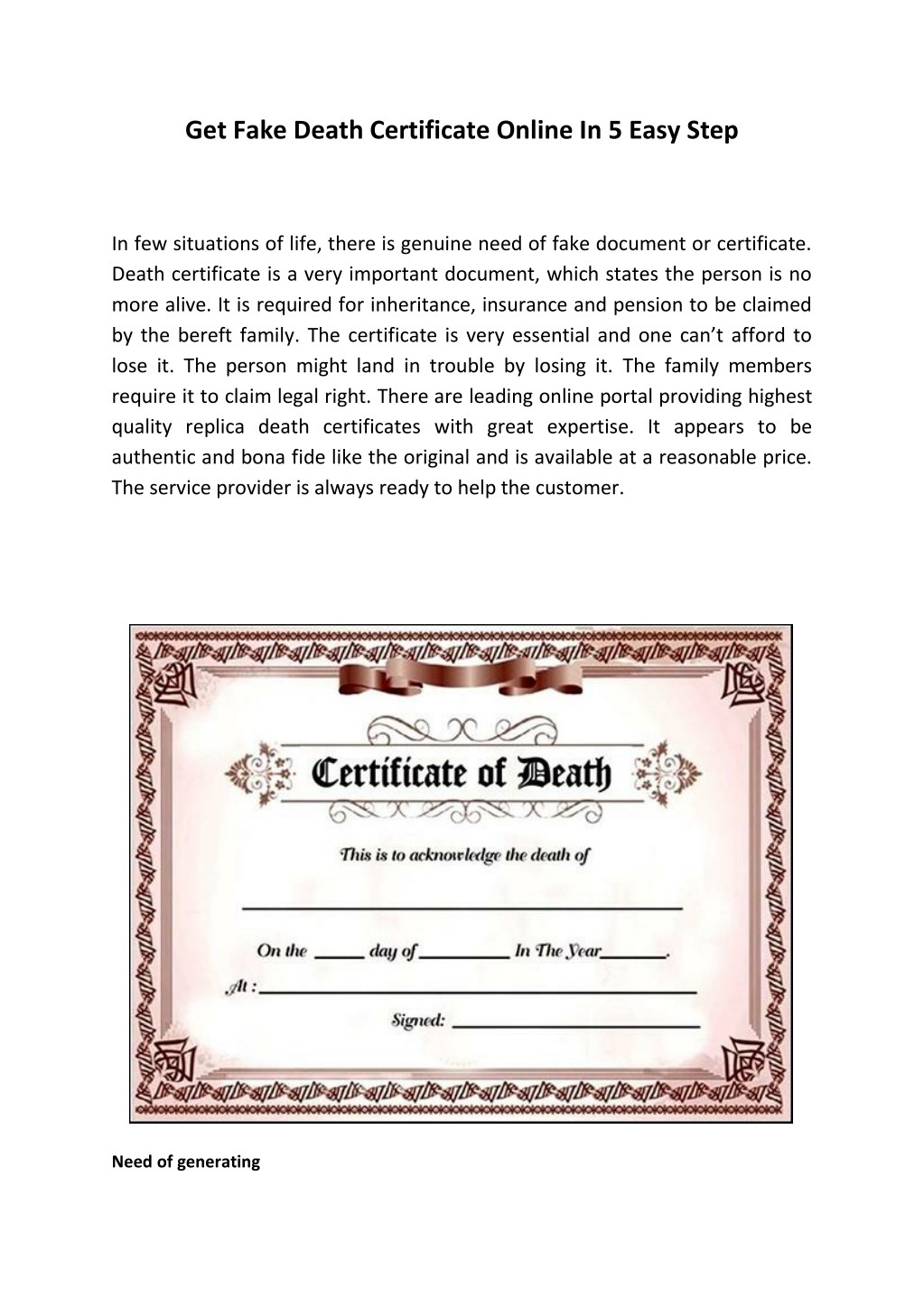 PPT - Get Fake Death Certificate Online In 22 Easy Step PowerPoint For Fake Death Certificate Template