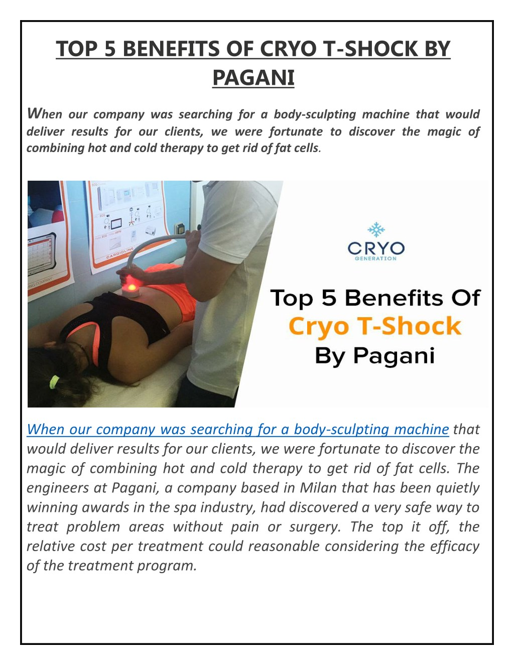 PPT - TOP 5 BENEFITS OF CRYO T-SHOCK BY PAGANI PowerPoint