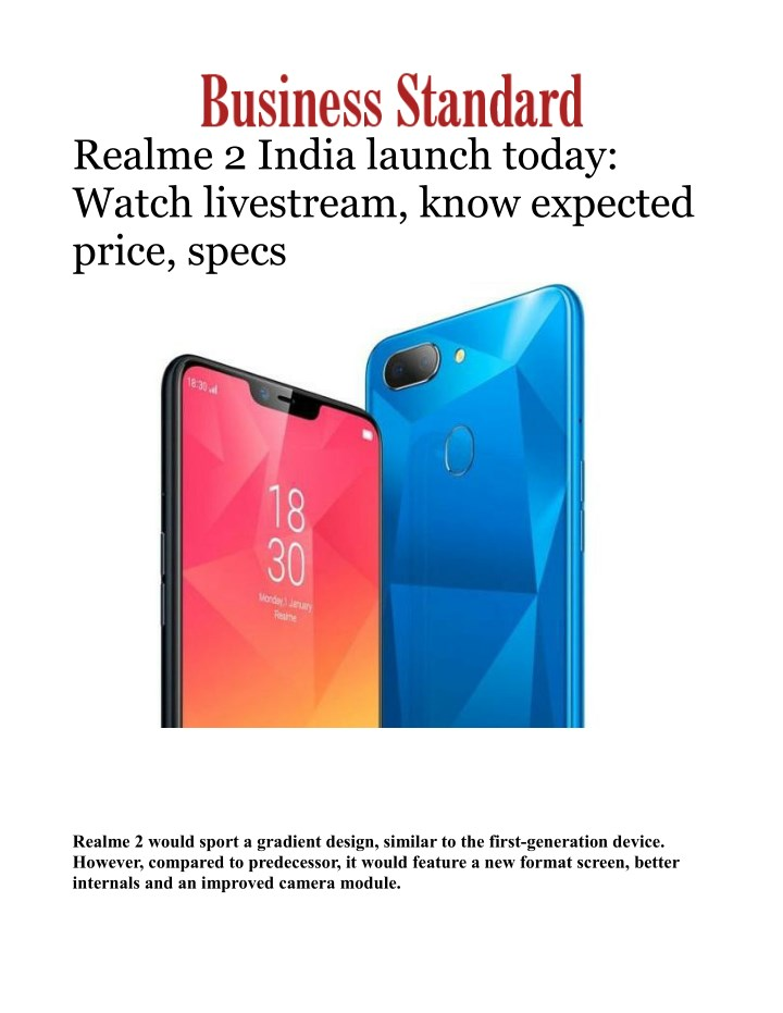 PPT - Realme 2 Mobile Phone India launch Today: Watch