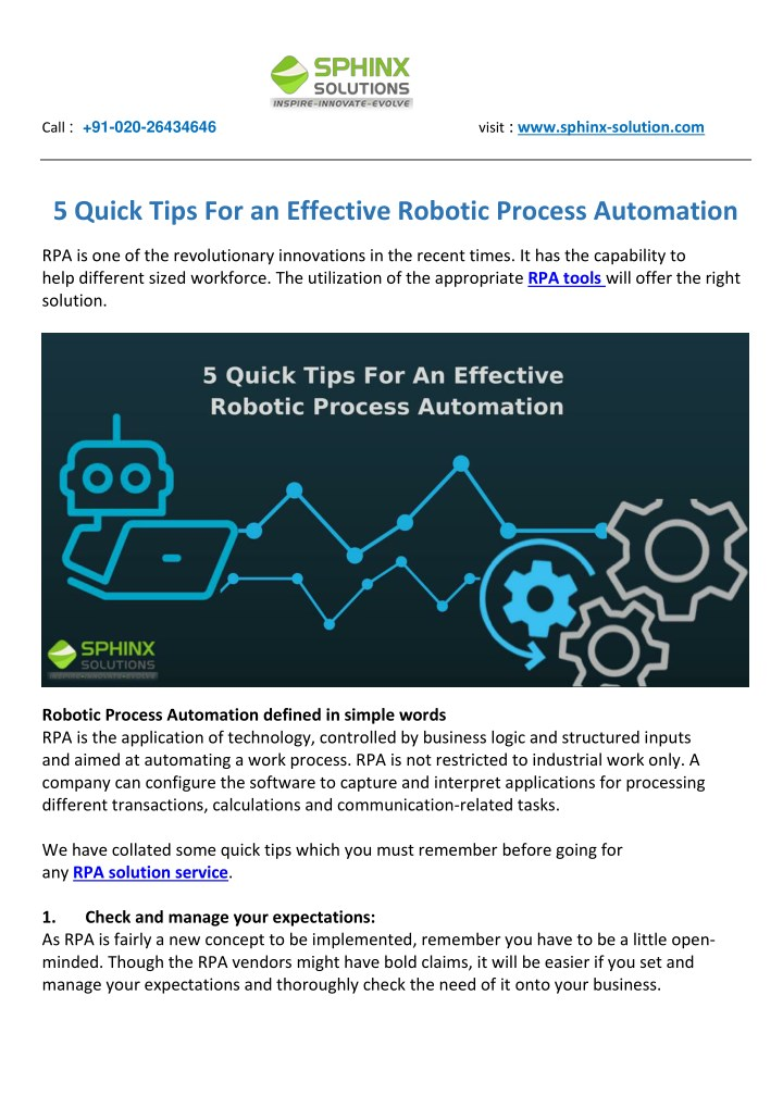 PPT - 5 Quick Tips For an Effective Robotic Process
