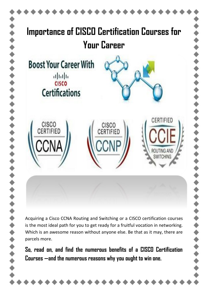 PPT - Importance of CISCO Certification Courses for Your Career ...