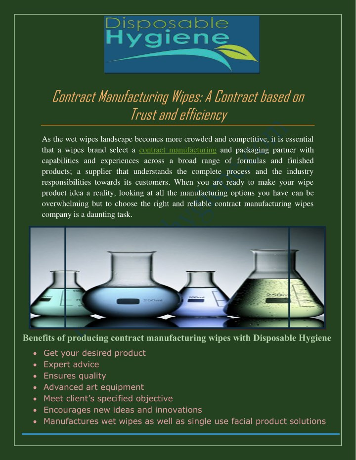 PPT - Contract Manufacturing Wipes: A Contract based on Trust and