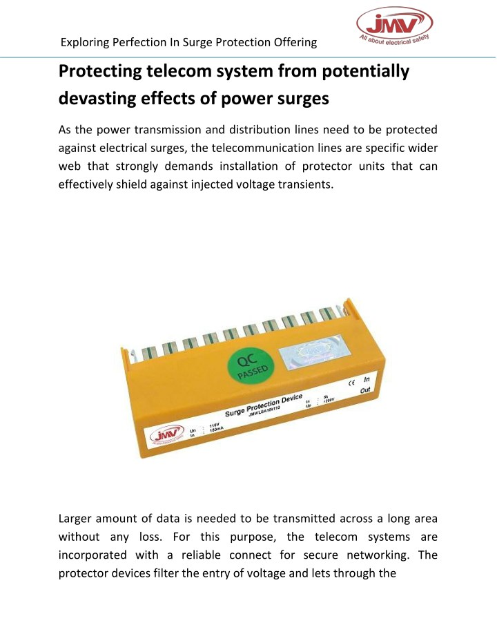 exploring perfection in surge protection offering n.