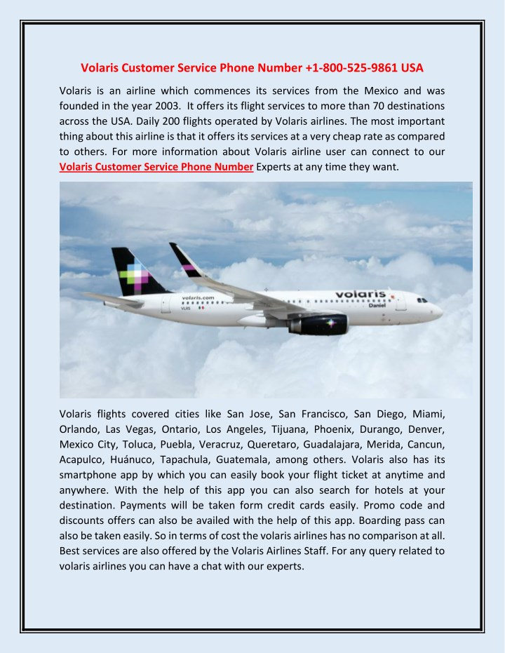 PPT - Volaris Customer Service Phone Number 1-800-525-9861