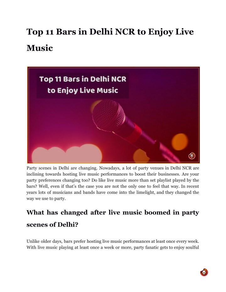 top 11 bars in delhi ncr to enjoy live n.
