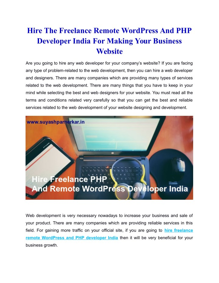 PPT - Hire The Freelance Remote WordPress And PHP Developer India