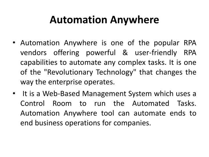 PPT - Automation Anywhere Training in Chennai PowerPoint