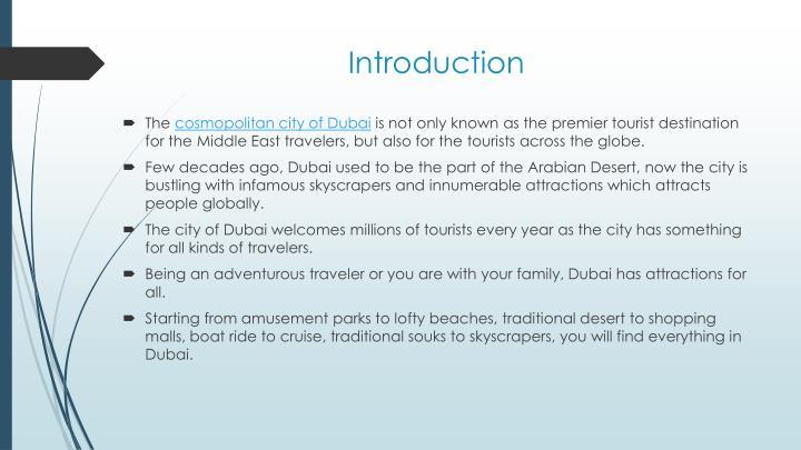 introduction to dubai tourism