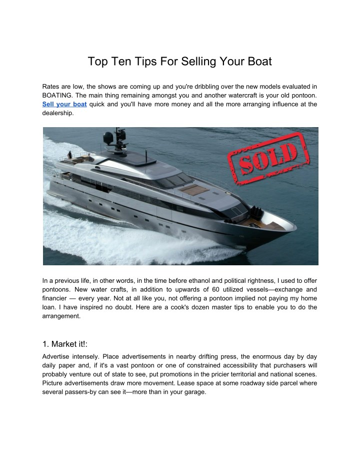 top ten tips for selling your boat n.