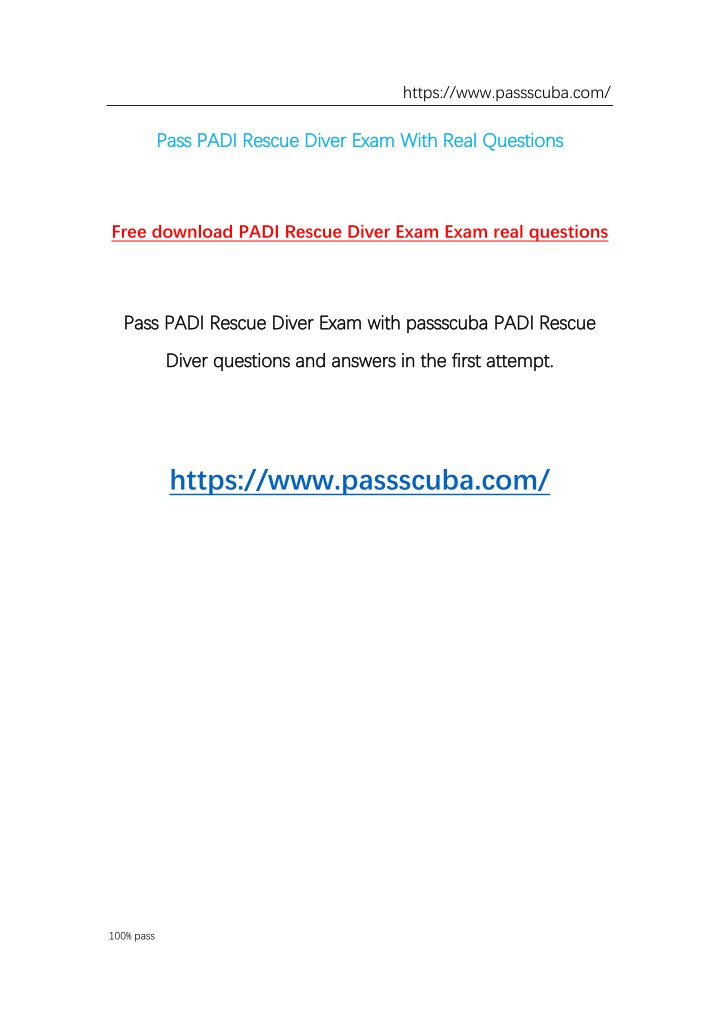 PPT - Free download Padi rescue diver exam questions and answers