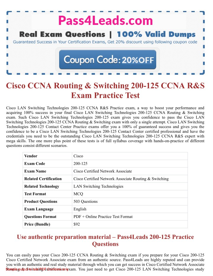 PPT - Cisco 200-125 CCNA R&S Exam Questions PowerPoint Presentation