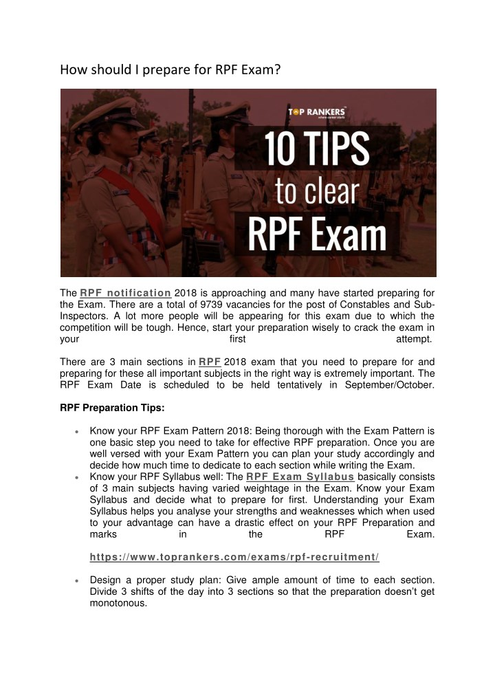 how should i prepare for rpf exam n.