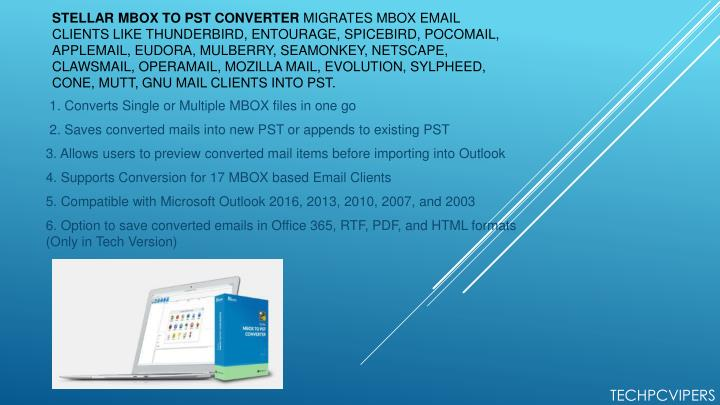 stellar mbox to pst converter migrates mbox email n.