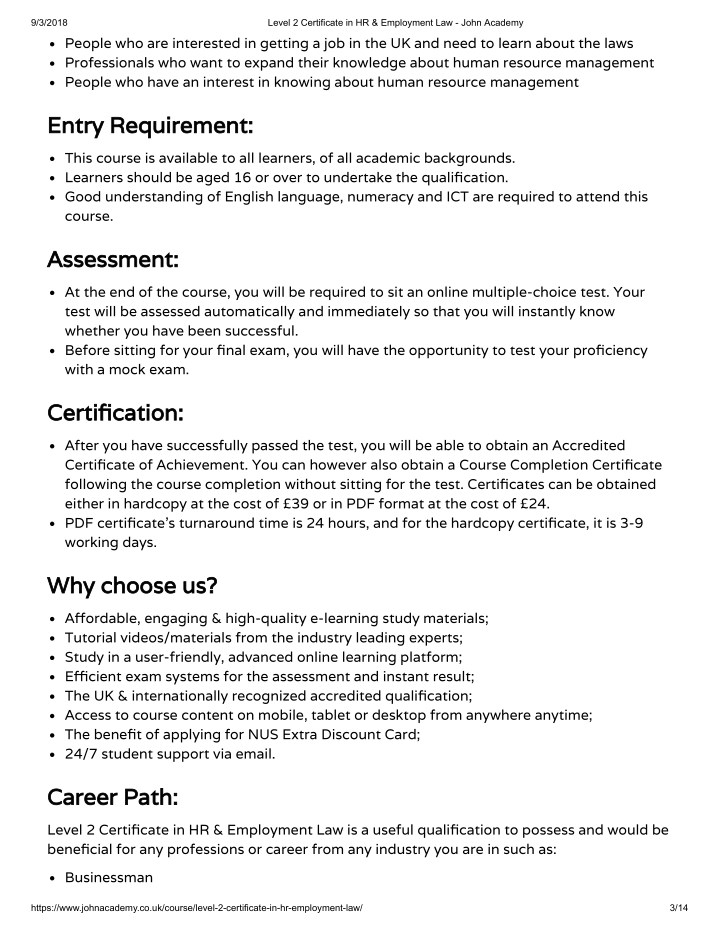 Ppt Level 2 Certificate In Hr Employment Law John Academy