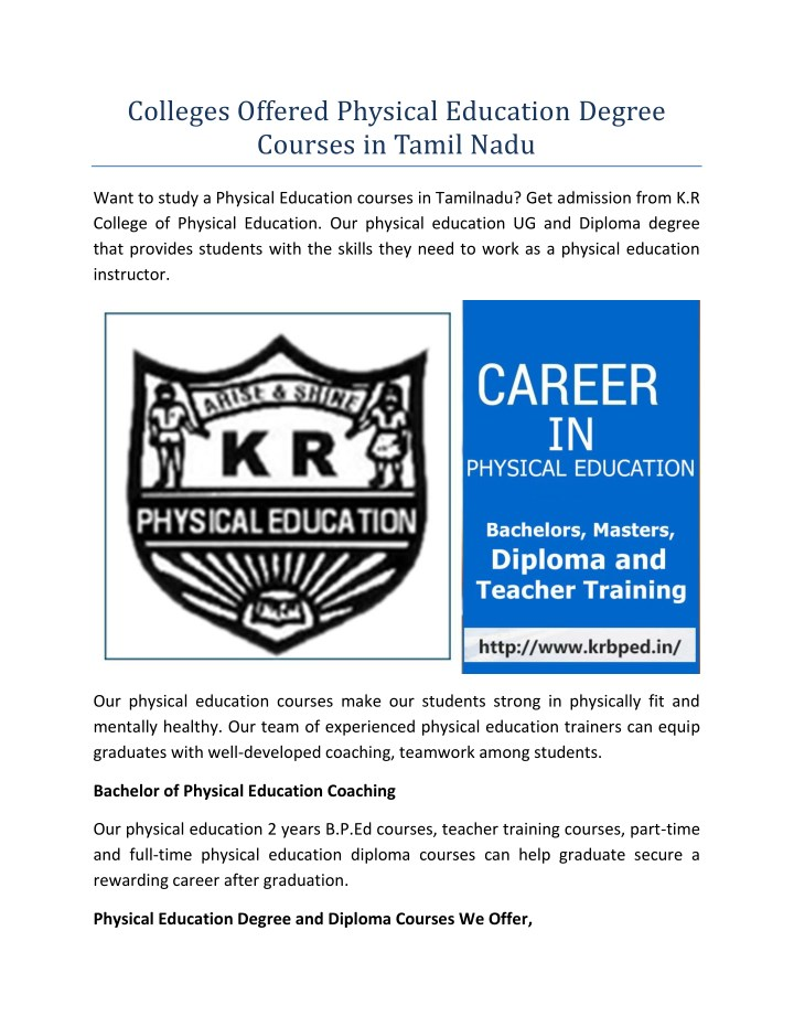 PPT - Colleges Offered Physical Education Degree Courses