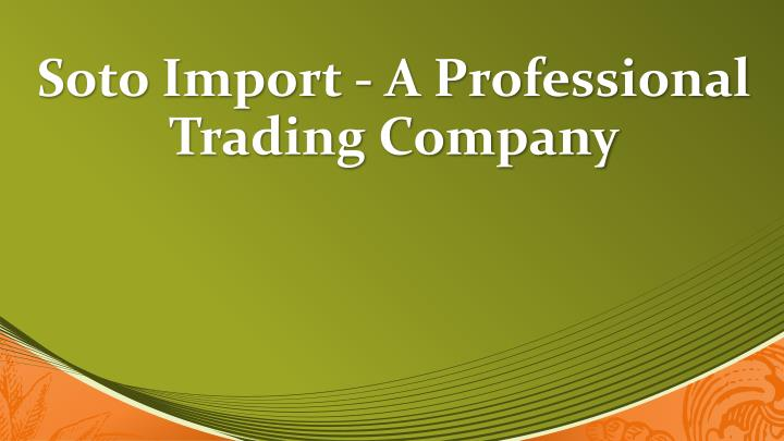 soto import a professional trading company n.