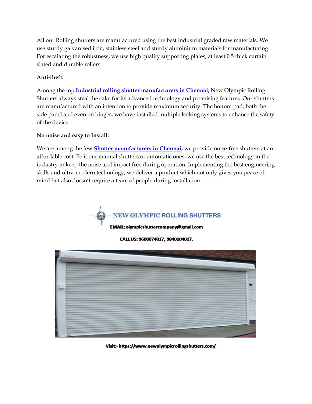 Ppt High End Rolling Shutters At A Competitive Price By