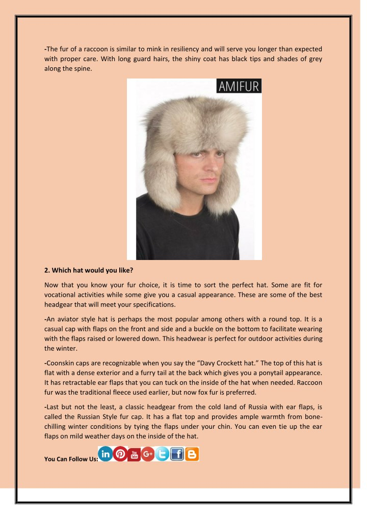 4ba07b91b21bd PPT - About Men's Fur Hats and How to Choose the Best PowerPoint ...