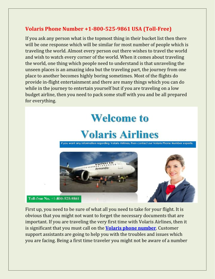 PPT - Volaris Phone Number 1-800-525-9861 USA (Toll-Free