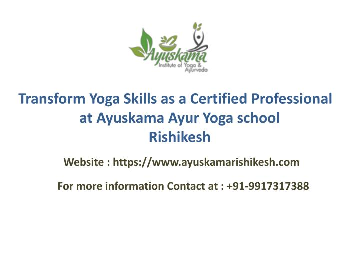 transform yoga skills as a certified professional n.