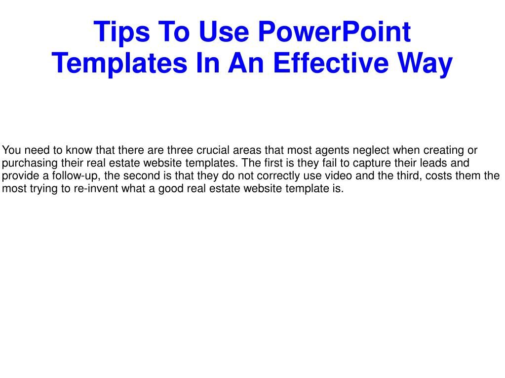 Ppt Tips To Use Powerpoint Templates In An Effective Way