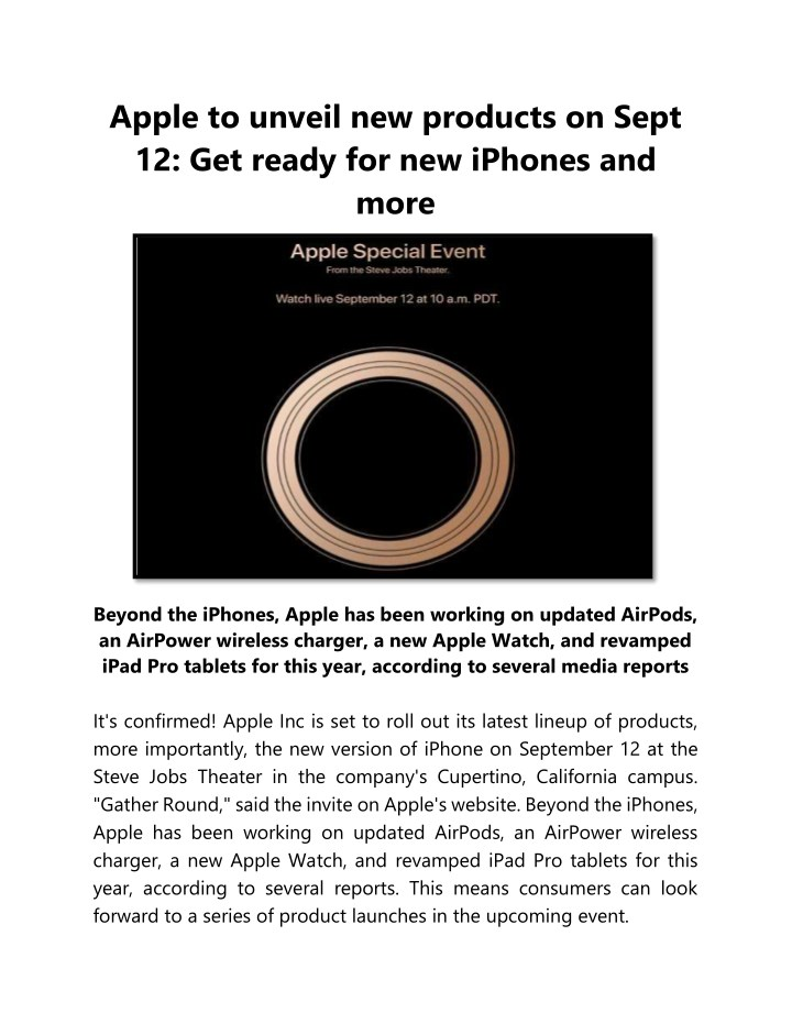 apple to unveil new products on sept 12 get ready n.