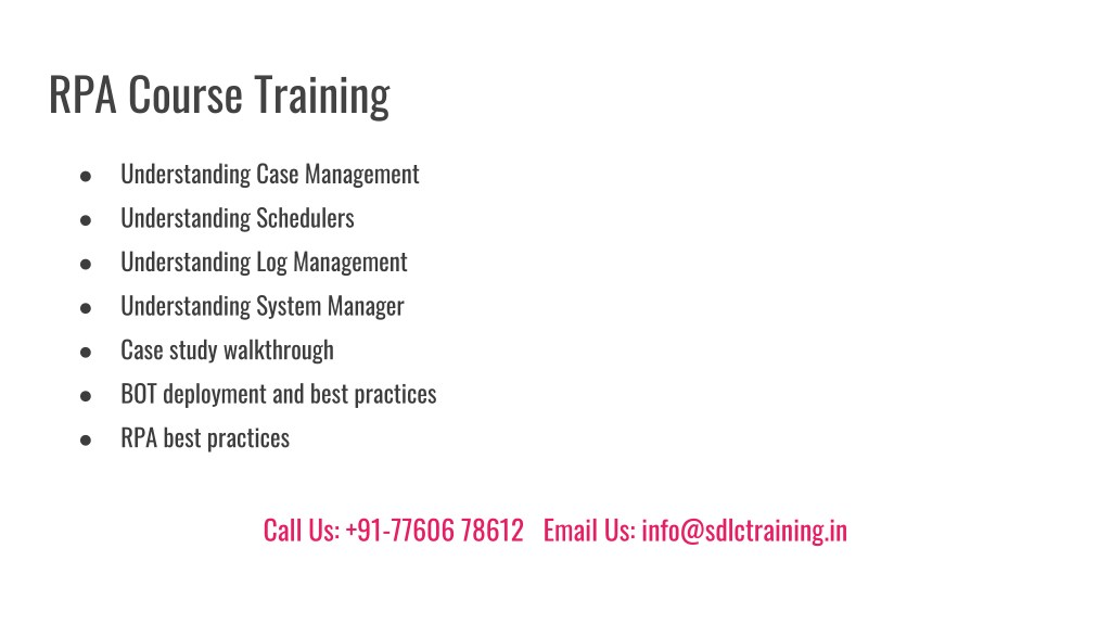 PPT - Realtime and Job Oriented RPA Training in Marathahalli