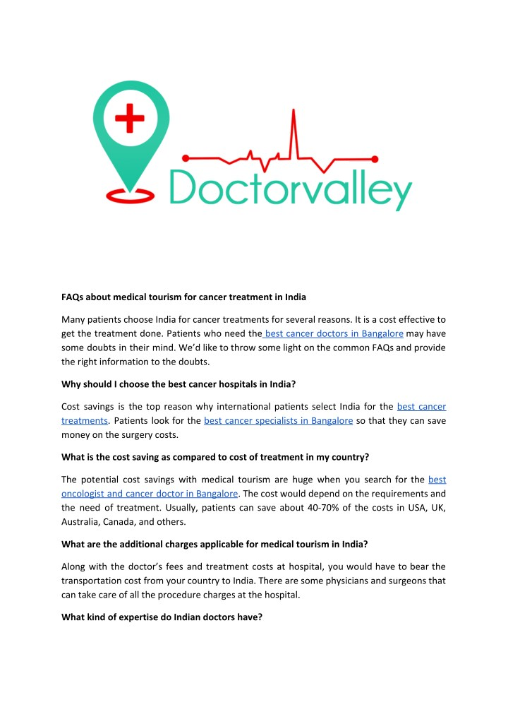 PPT - Best cancer doctors in bangalore | https://www doctorvalley