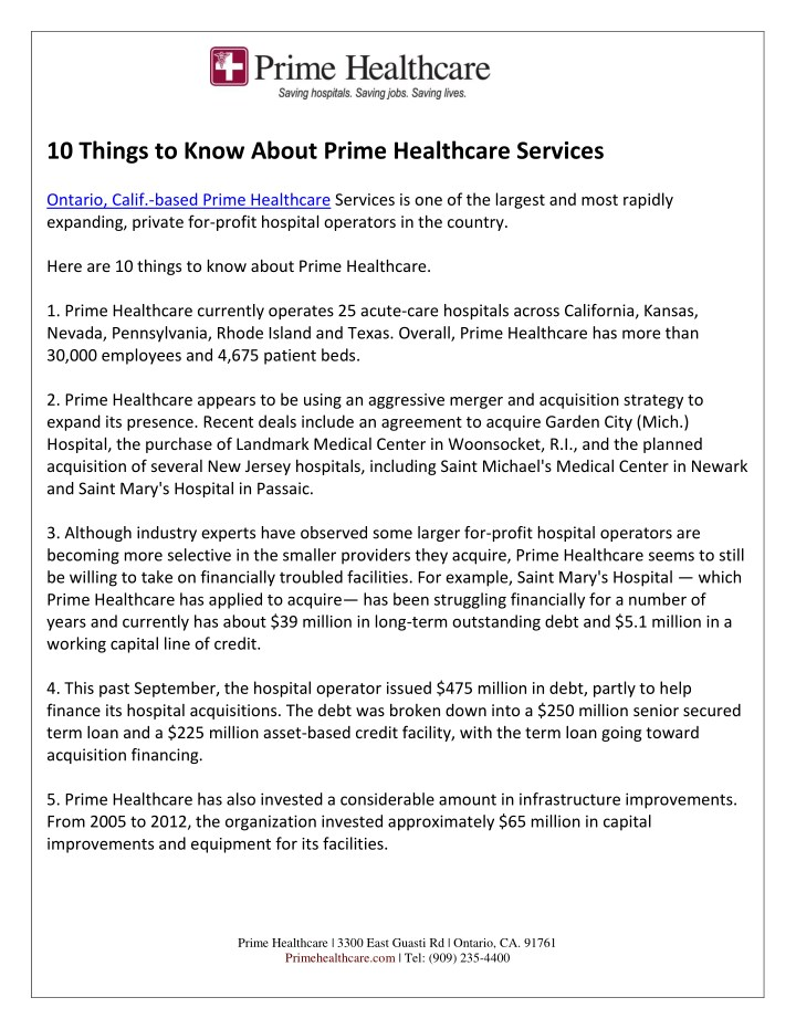 Ppt 10 Things To Know About Prime Healthcare Services Powerpoint